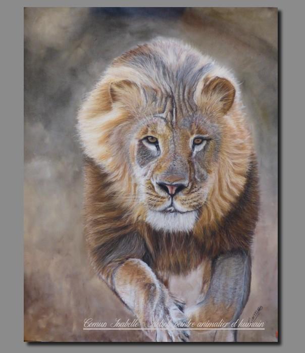 La charge du roi, pastel sec sur pastelmat 40 x 50 cm