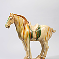 A small sancai-glazed standing horse, Tang dynasty (618-907)