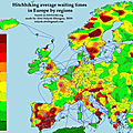 Hitchhiking map with the average waiting times of Europe, 2019