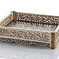 A fine carved ivory and hardwood tray with mother-of-pearl inlays and gold mounts, china, qianlong period