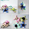Cadeaux de naissance - Jouet Doudou Crochet - Baby Sea Turtle - Bébé Tortue de Mer - fait main Made in France