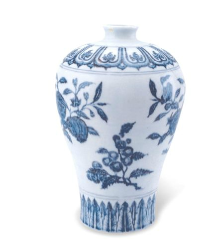 Blue and white 'fruit sprays' meiping, Ming dynasty, Yongle period, Collection of Palace Museum, Beijing
