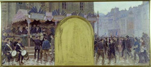 Binet, enrôlement des volontaires place du Panthéon (esquisse 1889)