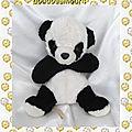 Doudou Peluche Ours Panda Assis Noir Et Blanc Nounours