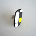 mondrian bague rectangle jaune noir