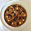 tarte aux aubergines, fêta et pignons