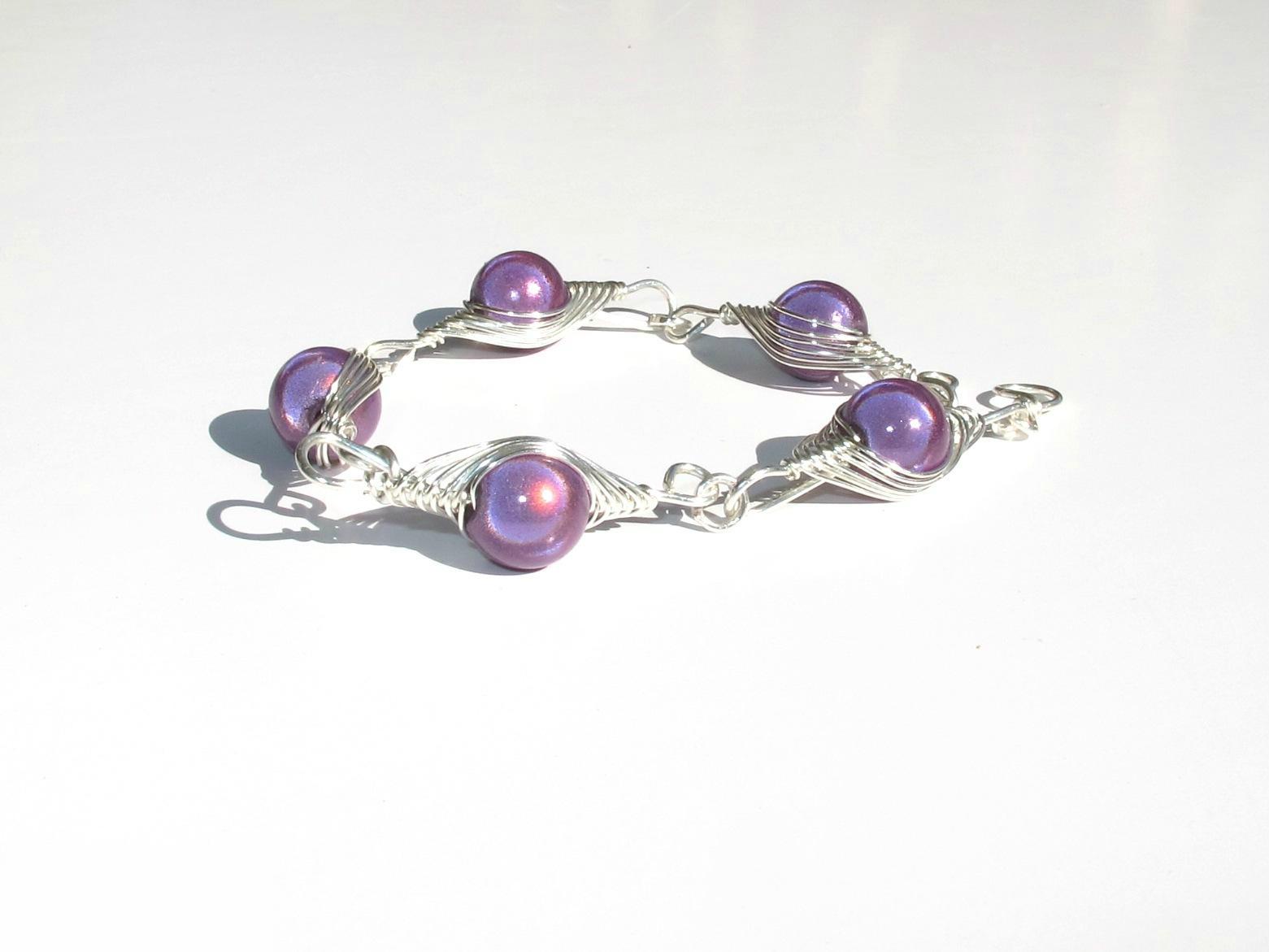 bracelet wire argent perles violettes2