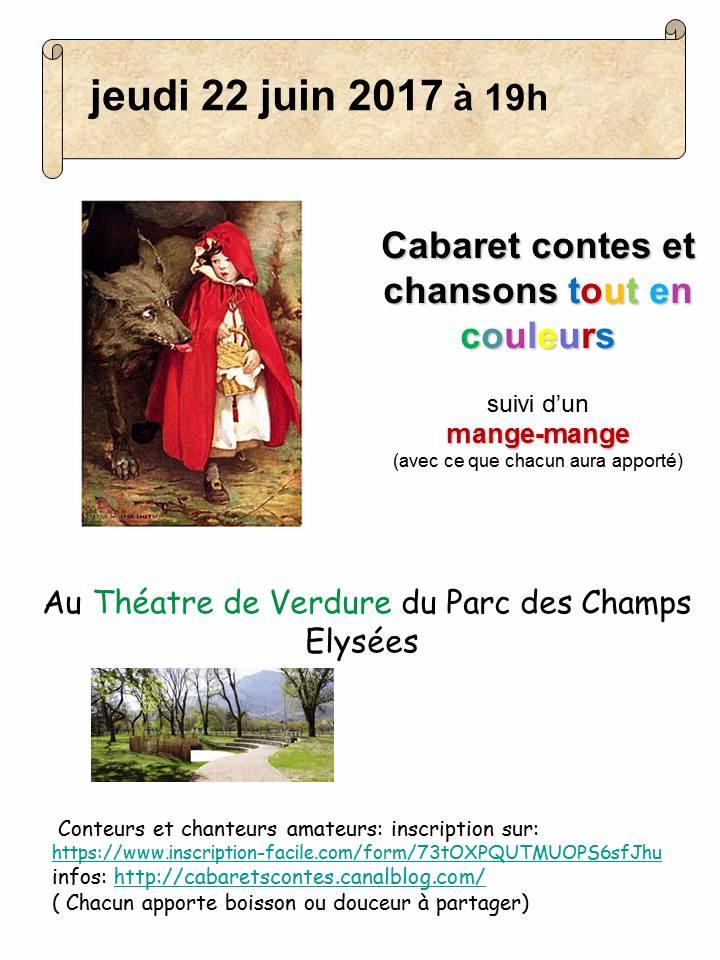 """cabaret contes et chants """"tout en couleurs """" au Théatre de Verdure"""