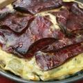 Clafoutis poireaux viande des grisons