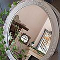 Ancien miroir patiné lin et blanc poudré