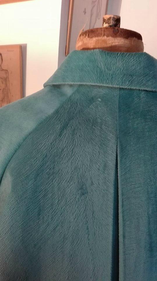 Veste VICTORINE en velours bleu canard - Doublure de satin noire (12)