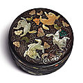 An embellished zitan 'squirrel and grapevine' circular box and cover, qing dynasty, qianlong period (1736-1795)