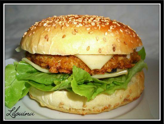 burger au poulet parfum 100 maison fait maison par lilouina. Black Bedroom Furniture Sets. Home Design Ideas