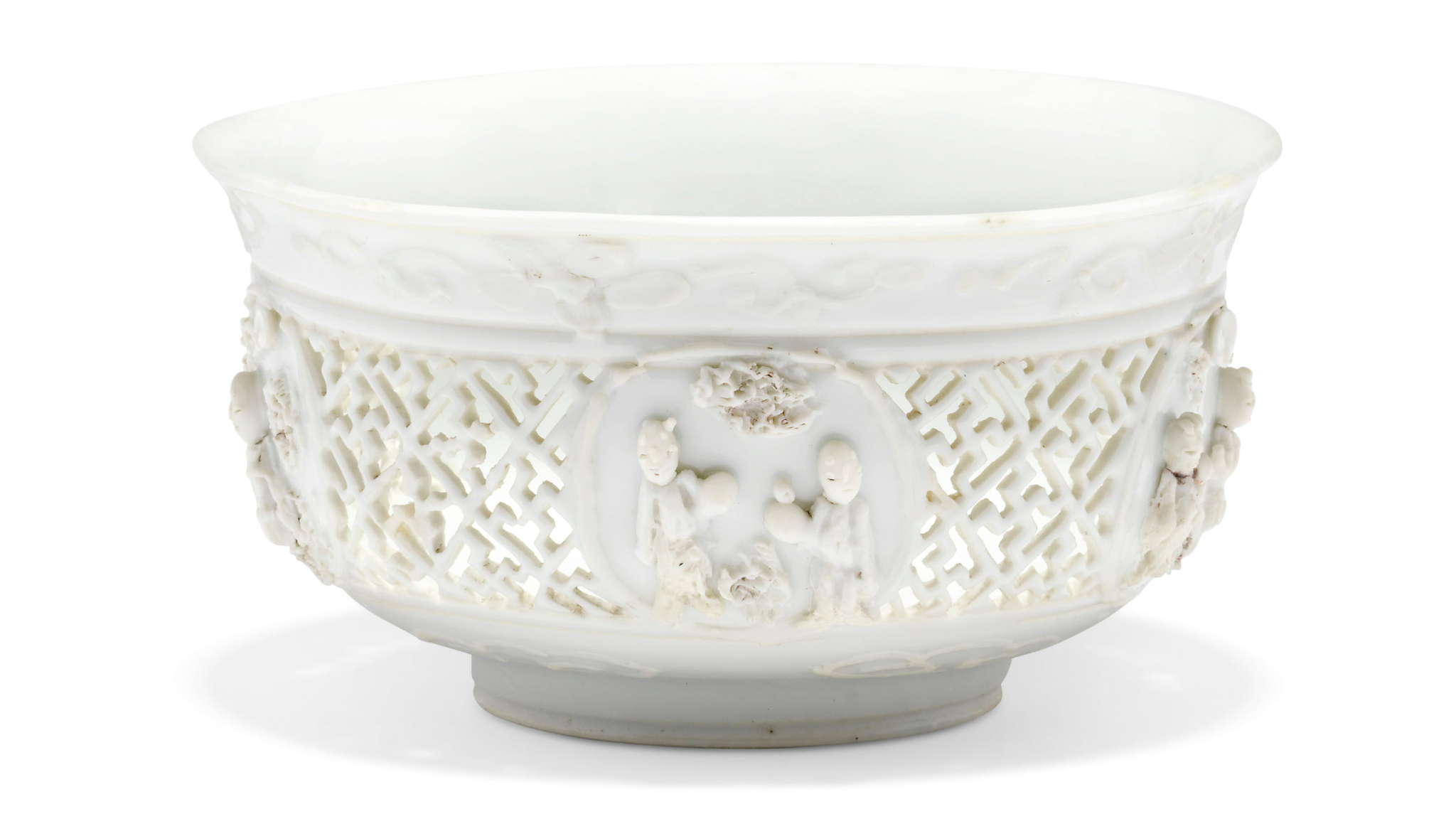 A rare white-glazed biscuit linglong bowl, Ming_dynasty, 17th century