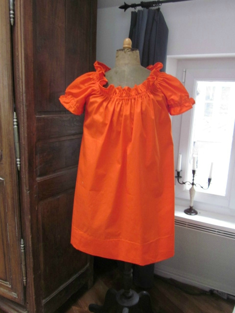 Robe ALBANE en coton orange (2)