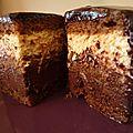 Biscuit joconde café, crémeux chocolat noir à la fève de tonka et mousse rhum/coco