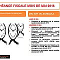 Échéance fiscale mois de mai / may tax schedule