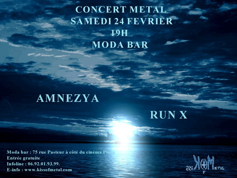 Affiche du concert Amnezya - Run X samedi 24 février au Moda Bar