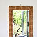 Grand miroir rotin vintage