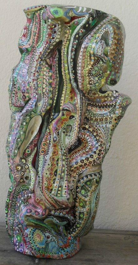 Hervé THAREL SCHMIMBLOCK'S kameleon 2013 - gouache T7 sur argile 21cmx9cm (2)