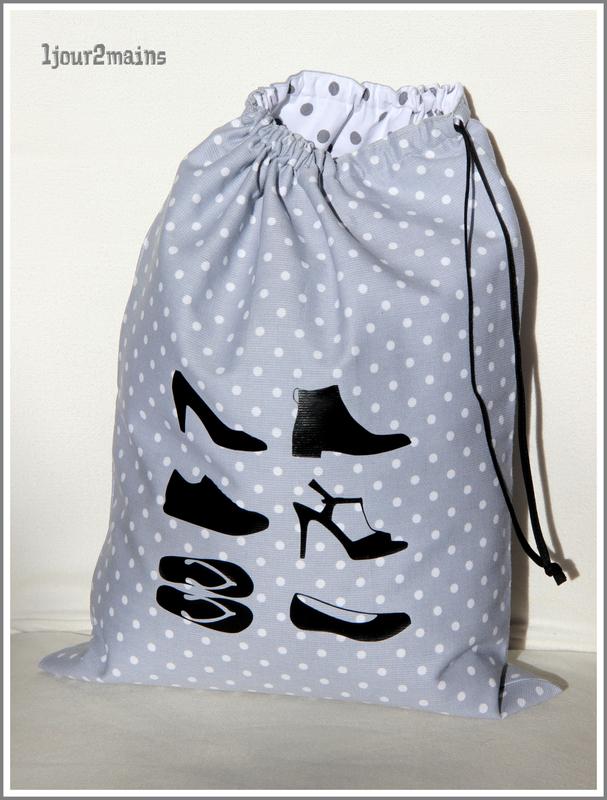 sac chaussure pois gris