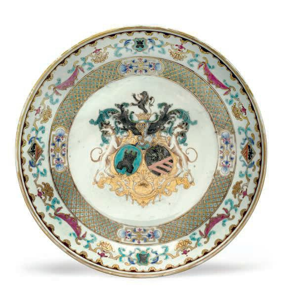 An armorial saucer dish, circa 1736-1740