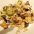 Gratin de pâtes aux fruits de mer et brocoli