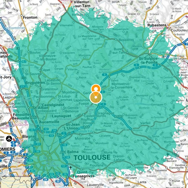 isochrone 20 km