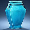 A turquoise-glazed rectangular baluster vase, 18th century