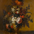 Attributed to claude nicolas huilliot (reims 1632-1702 paris). tulips, convolvulus, roses and other flowers in a bronze urn