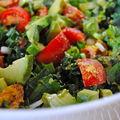 Salade de kale flétrie (ramollie, fripée, relaxe) pour vous remonter!