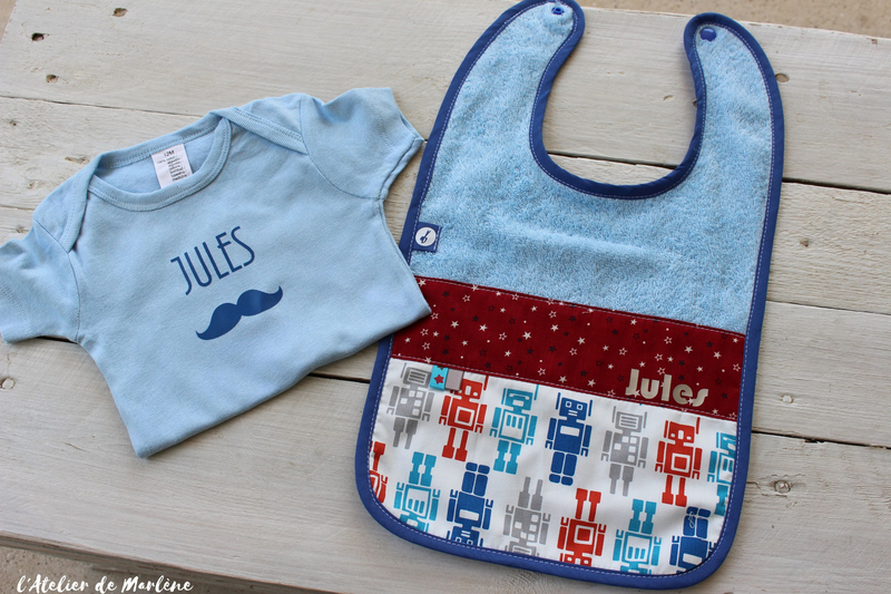 kit bébé JULES moustache bavoir body personnalisé