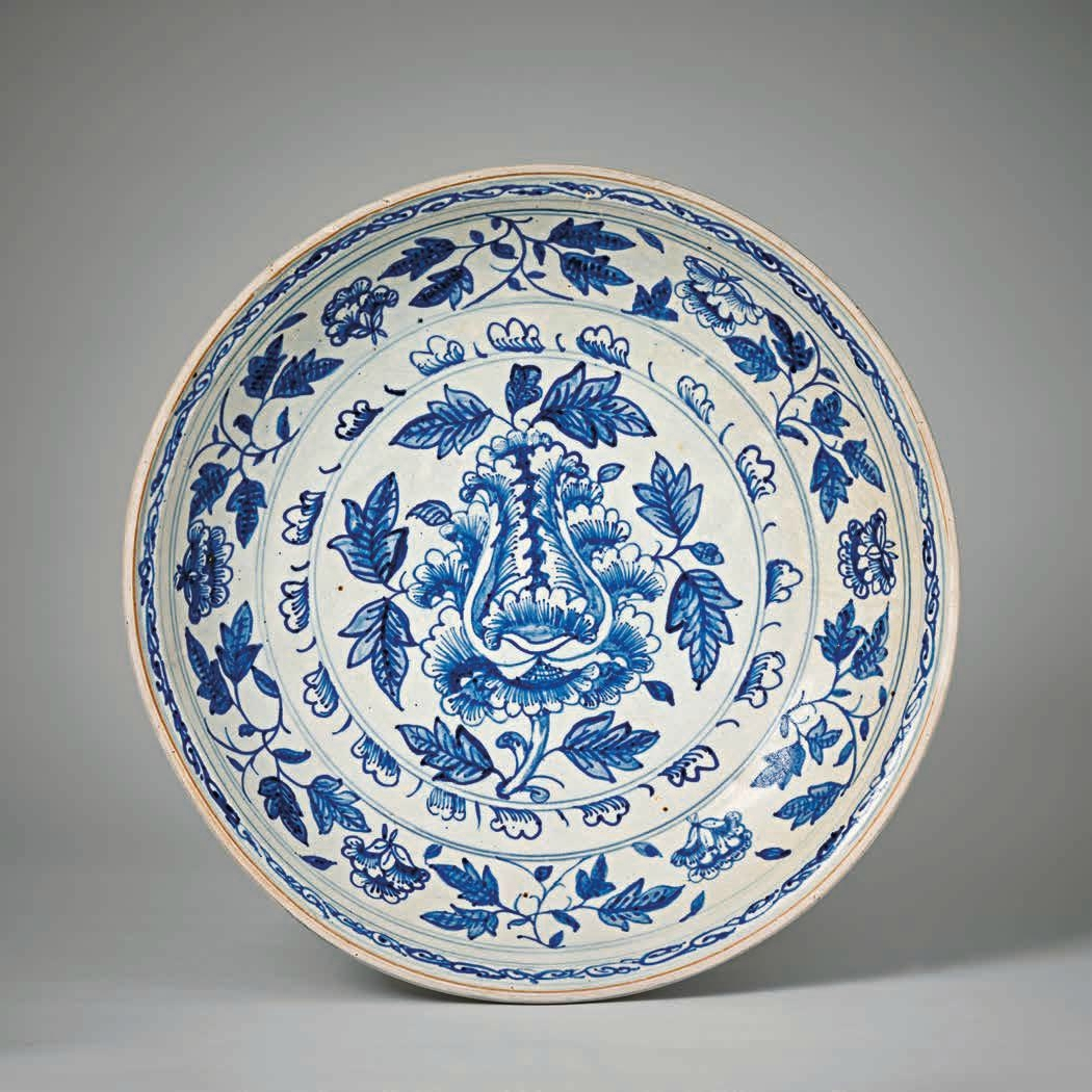 Large Blue and White Peony Plate, Lê Dynasty, 15th–16th c