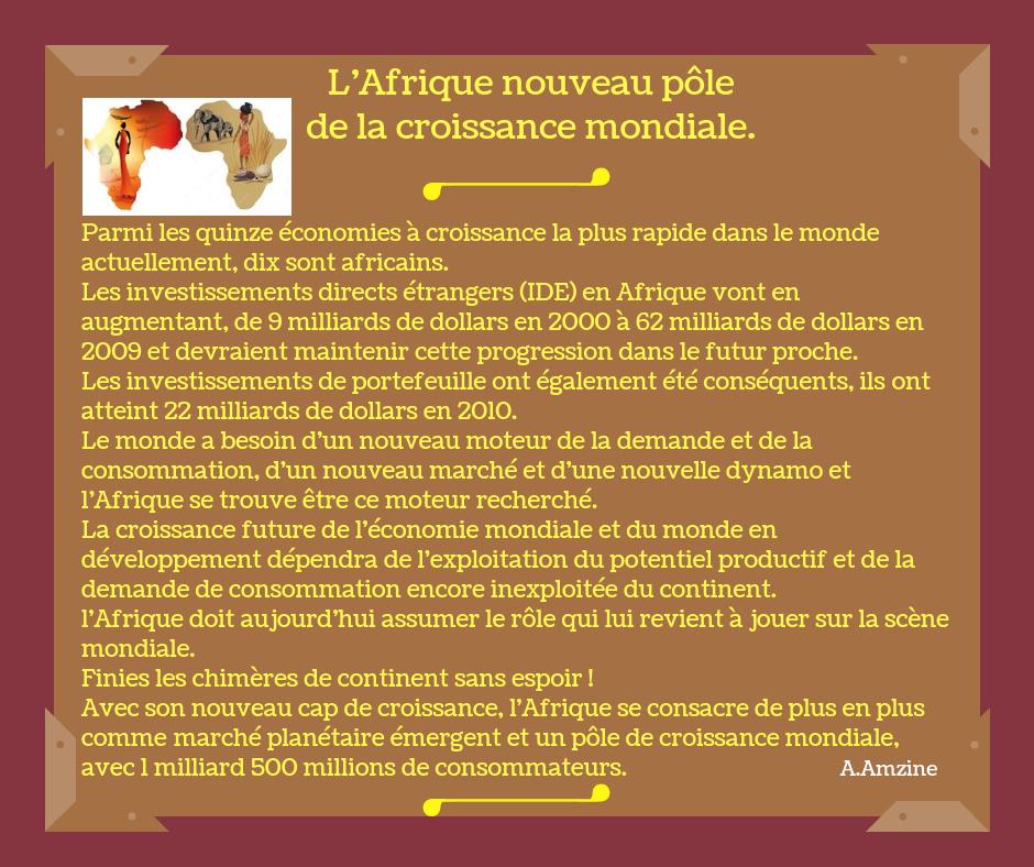 L'Afrique Un nouveau pôle de la croissance mondiale !