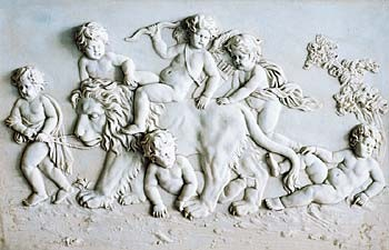 Bas relief en biscuit de porcelaine translucide ( Amours chevauchant un lion )