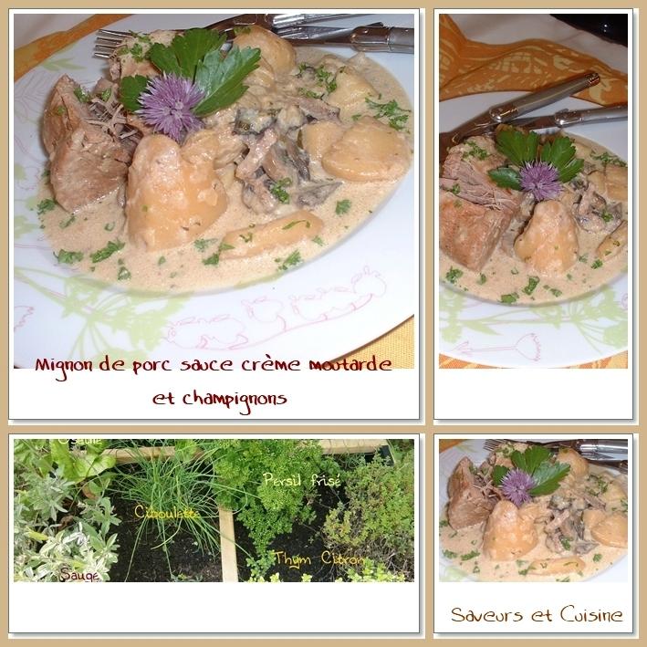 Filet mignon de porc sauce crème moutarde et champignons