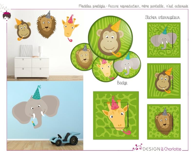 stickers th me jungle party cr ation de design by charlotte graphiste ind pendante en. Black Bedroom Furniture Sets. Home Design Ideas