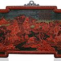 A superb and very rare imperial three-colour cinnabar lacquer panel, qianlong period (1736-1795)
