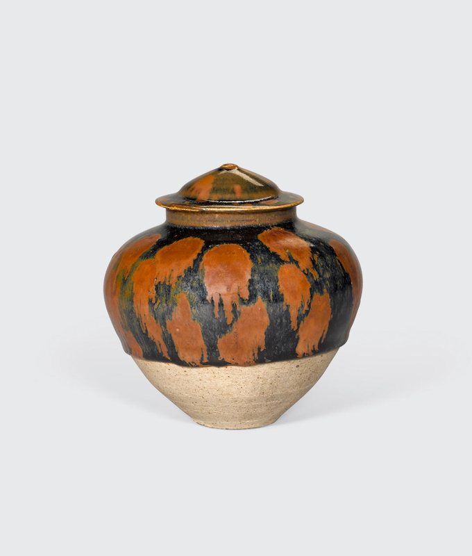A Cizhou-type black glazed jar and a cover with russet-splashed decoration, Northern Song-Jin dynasty (960-1234)