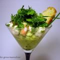 Avocat écrasé, ceviche de crevettes et herbes fraîches à la manière de jean-françois piège