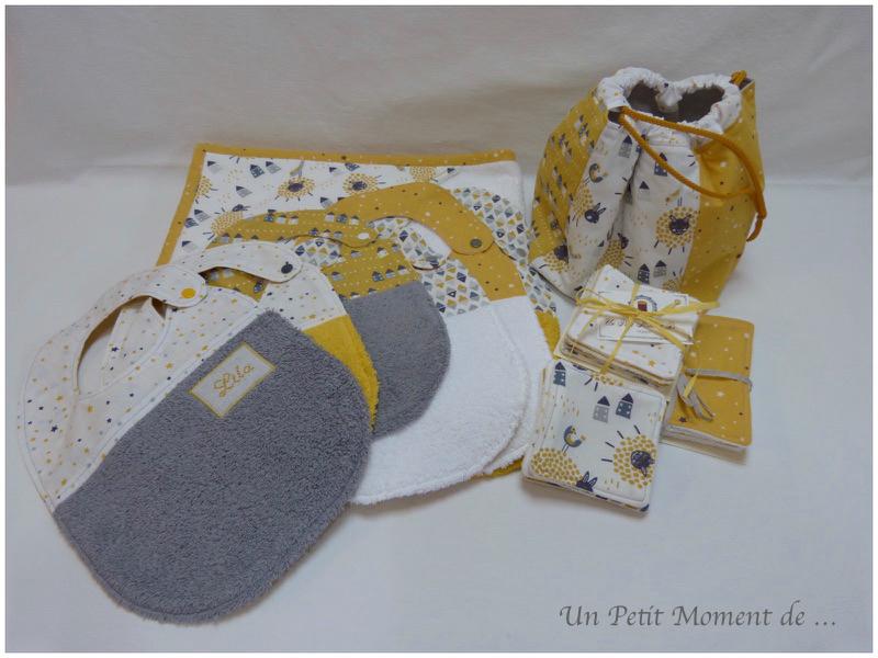 Ensemble naissance jaune et gris 1