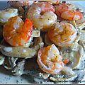 Crevettes sauce champignons