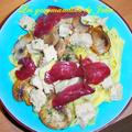 Tagliatelles du sud-ouest : foie gras, champignons et magret séché