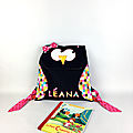 Sac à dos maternelle fille personnalisable prénom Léana cartable hibou chouette bleu marine rose