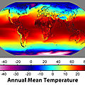 The annual average temperatures around the world