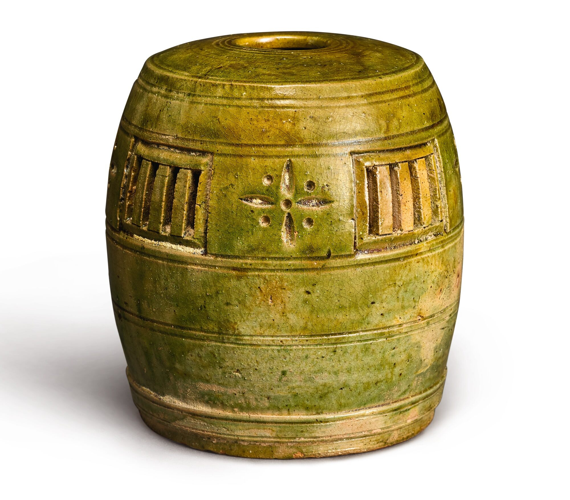 green-glazed barrel-shaped parfumier, Five Dynasties (907-960)