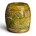 A green-glazed barrel-shaped parfumier, five dynasties (907-960)