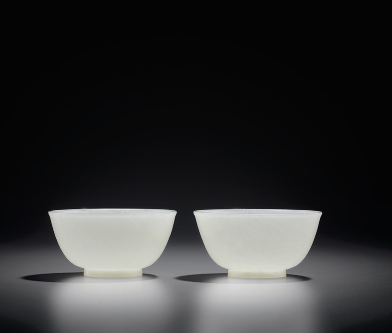 A fine pair of white jade bowls, Qing dynasty, 18th century2