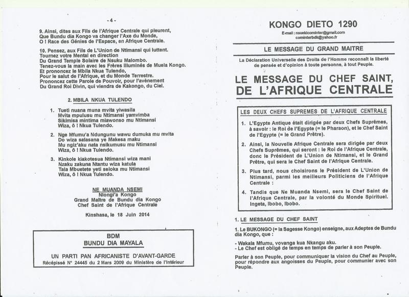LE MESSAGE DU CHEF SAINT DE L'AFRIQUE CENTRALE a