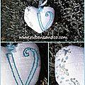 Un coeur brodé aux rubans avec le coeur